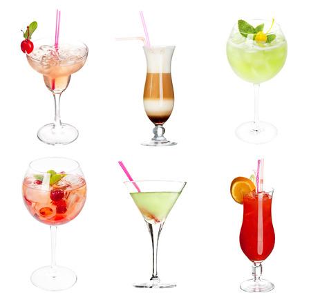 Set of alocohol coctails isolated on white background