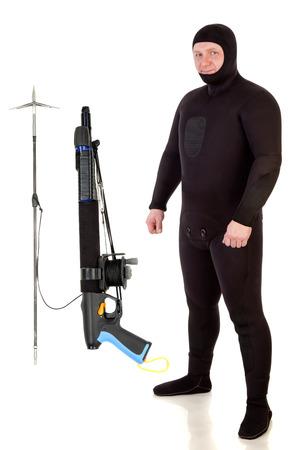 speargun: Underwater hunter man and speargun on a white background