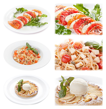 Set of tasty italian food isolated on white background. Distant and close-up : salmon and cheese appetizer; pasta with tomato and  cheese; apple piel  with ice cream. photo
