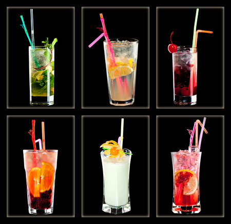 Cocktail collection on black background photo