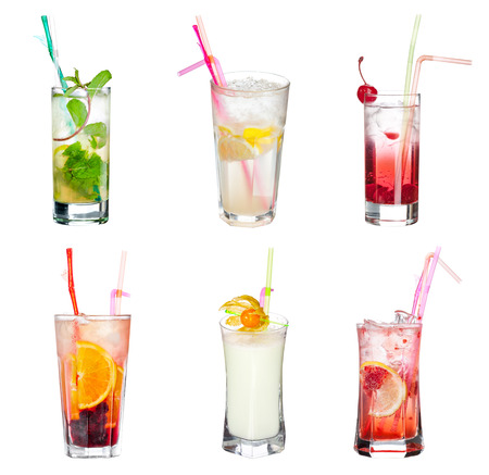 Set of alocohol coctails isolated on white background photo