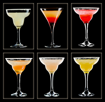 Margarita cocktail collection isolated on black background photo