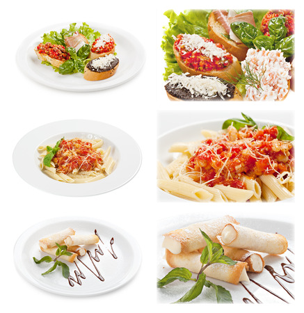 cannoli pastry: Set of tasty italian food isolated on white background. Distant and close-up : brusketta with different fillings; pasta with sauce bolognese; Cannoli. Sicilian pastry desserts.