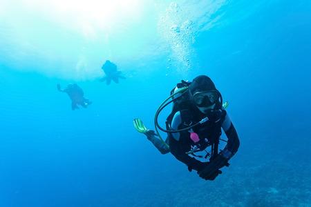 Female suba diver swimming under water Imagens