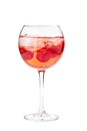 aperitive: Cocktail with ice cube and strawberries. Isolated on white background.