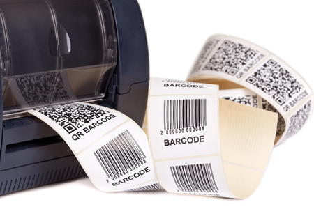 Barcode Label  Printer, isolated on white background. Studio short. Barcode for use - no copyright issues as constructed.