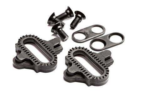 pedals: The standard off road cleat that fits most MTB pedals. Stock Photo