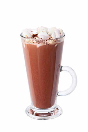 tall glass: Hot chocolate with marshmallows in transparent tall glass, isolated on white background.
