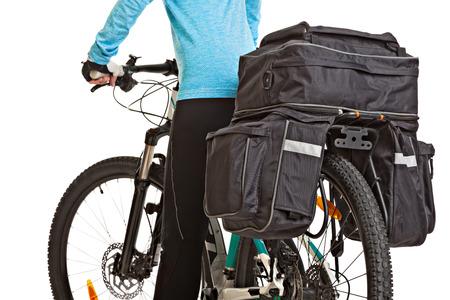 saddlebag: Female mtb cyclist  with saddlebag, isolated on white background. Studio shot. Rear view.