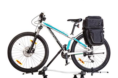wheeling: Mountain bike with  saddlebags, isolated on white background.  Studio shot.