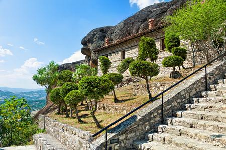 Garden on rock in  Meteora monastery. Greece.