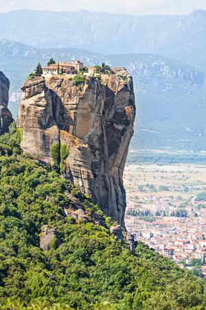 View of  Holy Trinity Monastery (Agia Triada).  Meteora monasteries, Greece. Stock Photo