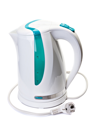 Plastic electric kettle with  electrical cord isolated on white background.