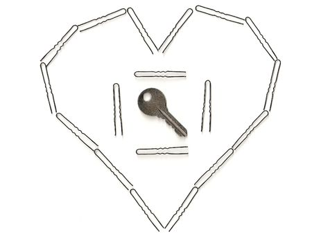 Key in the square which in the heart. photo