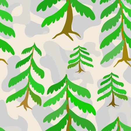non urban scene: Frozen pine forest.Seamless textures. Illustration