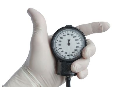 The hand in a glove holds the measuring device Stock Photo - 8143213