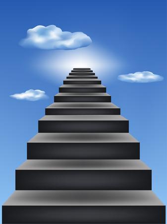 stair: Leiders van de stappen in de blauwe hemel Stock Illustratie