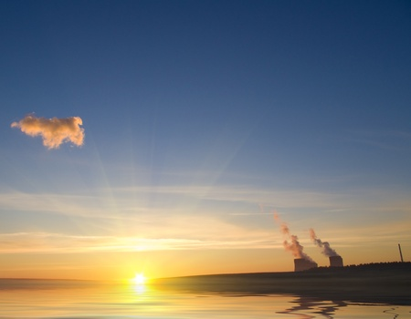 Power station against the sunrise Stock Photo - 8813489