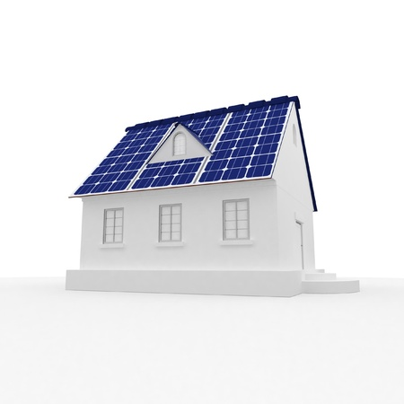 solar energy panels on a roof of house.3D rendering.