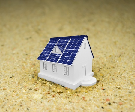 solar energy panels on a roof of house.3D rendering. photo