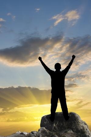 silhouette of man on the sunset Standard-Bild