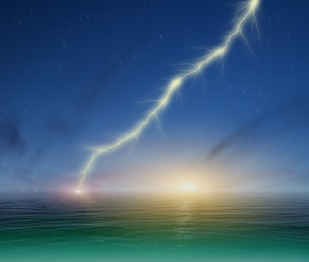 image of lightning on a dark blue sky background photo