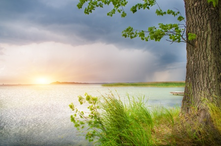 Wooden pier on beautiful lake.Nature composition. photo