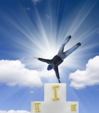 jumping man against blue sky. Stock Photo - 11603122