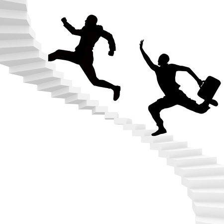man run for dear life up stairs to success. photo