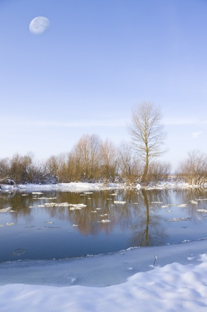 Coast of the winter river reflected in its waters photo