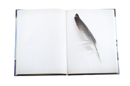 Blank page of note book on white isolate photo