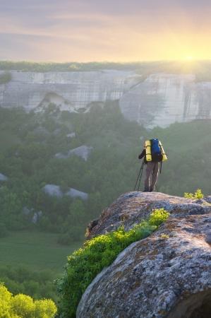 Man tourist in mountain. Leisure activity.