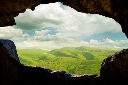 Cave City. view through the window of the cave dwellings