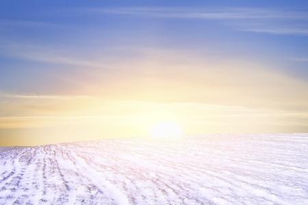 Winter landscape of snow field photo