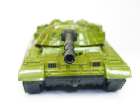 green military miniature: The toy green tank on a white background Stock Photo