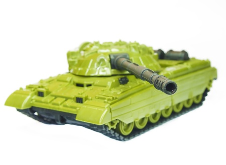 The toy green tank on a white background photo