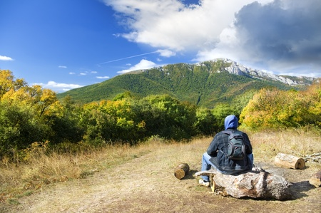 Man tourist in mountains forest  Leisure activity Stock Photo - 12625465