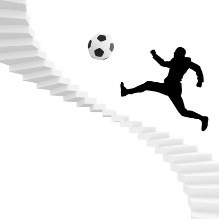 soccer or football player silhouette in actions photo