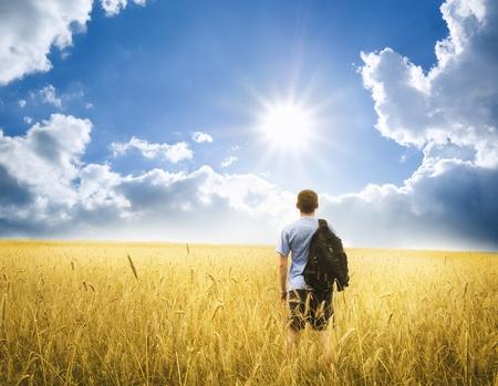 youn man on yellow wheat meadow  Conceptual design