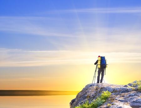 Man on top of mountain  Conceptual design  photo