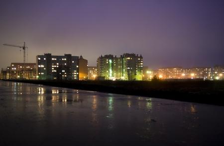 Burning lanterns and windows of a night city Stock Photo - 13264283