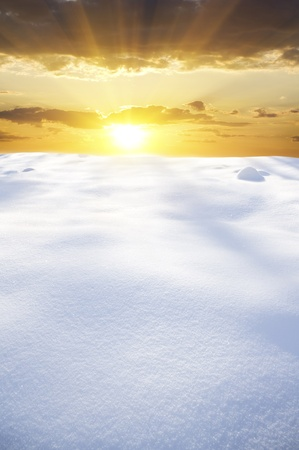 snow field on sunset Nature composition  Stock Photo