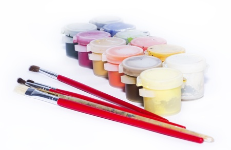 color paint and painting, still life, brushes and paint splatters Stock Photo - 13264401