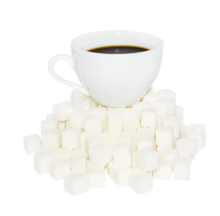 Cup of coffee  from cubes of the refined sugar Stock Photo - 13263883