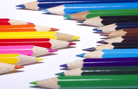 many color pencils on white background Stock Photo - 13264273