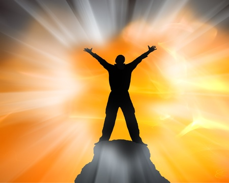 Man on top of mountain  Conceptual design  Standard-Bild