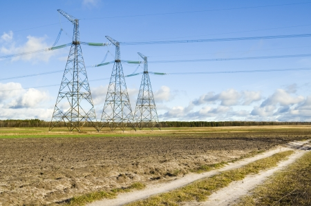 outumn: Power Transmission Line on the outumn field  Stock Photo