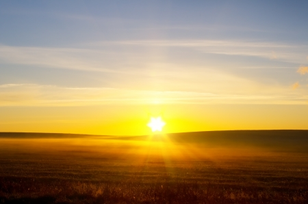sunrise over summer field  Nature composition  Stock Photo - 14405821