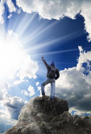 climber: Man op piek van de berg Conceptueel ontwerp