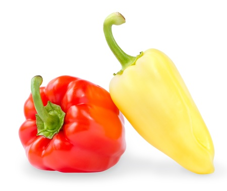 Red and yellow sweet peppers isolated on white background Stock Photo - 14975234
